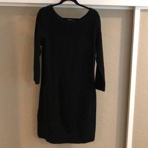 Black ribbed sweater dress